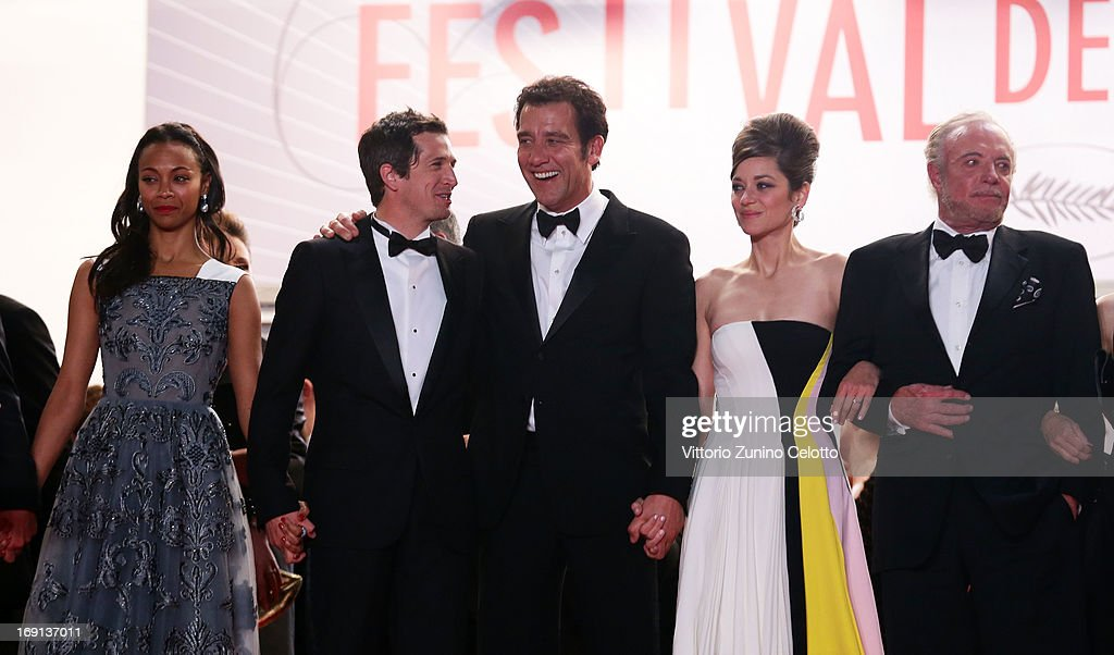 Actress Zoe Saldana, director Guillaume Canet, actors Clive Owen, Marion Cotillard and James Caan depart the 'Blood Ties' Premiere during the 66th Annual Cannes Film Festival at the Palais des Festivals on May 20, 2013 in Cannes, France.