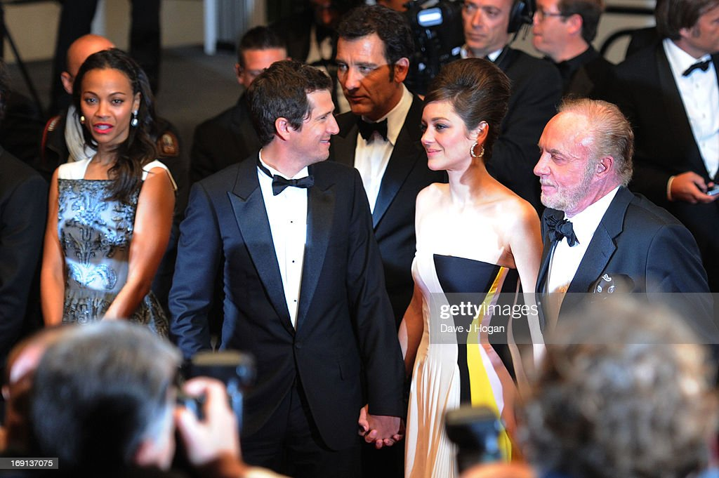 Actress Zoe Saldana, director Guillaume Canet and actors Marion Cotillard and James Caan depart the 'Blood Ties' Premiere during the 66th Annual Cannes Film Festival at the Palais des Festivals on May 20, 2013 in Cannes, France.