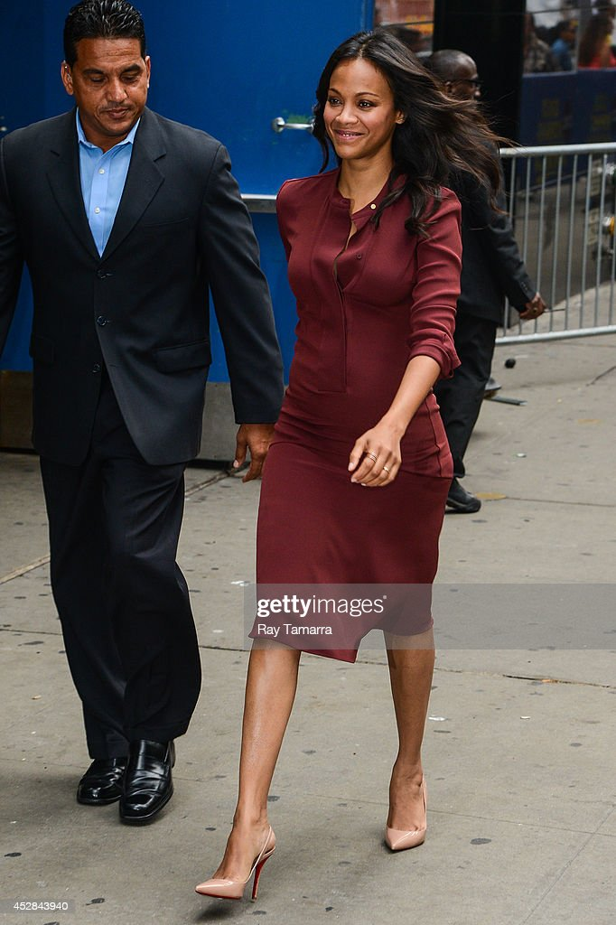 Actress Zoe Saldana enters the 'Good Morning America' taping at the ABC Times Square Studios on July 28, 2014 in New York City.