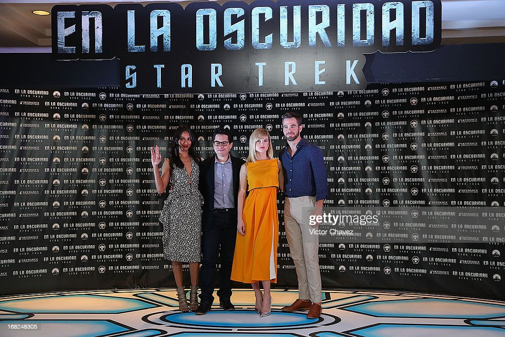 Actress Zoe Saldana, film director J.J. Abrams, actress Alice Eve and actor Chris Pine attend a photocall to promote the new film 'Star Trek Into Darkness' at Four Seasons Hotel on May 7, 2013 in Mexico City, Mexico.