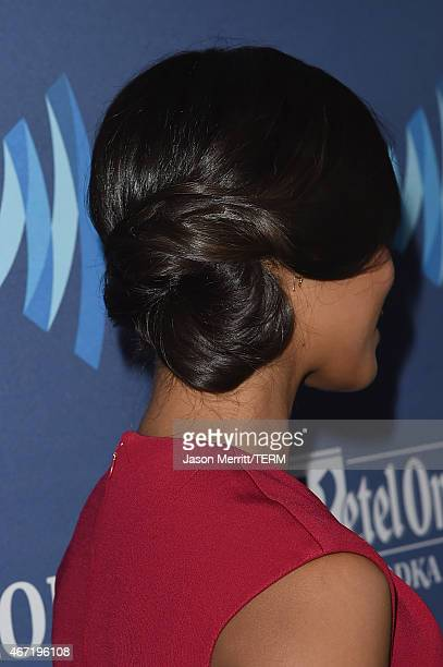 Actress Zoe Saldana hair detail attends the 26th Annual GLAAD Media Awards at The Beverly Hilton Hotel on March 21 2015 in Beverly Hills California