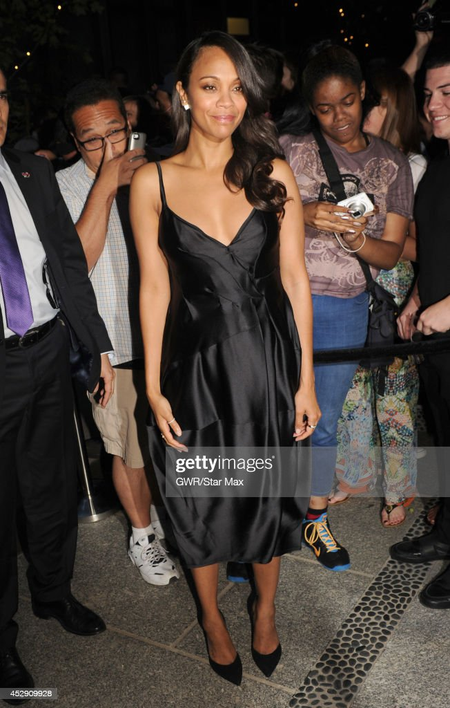 Actress <a gi-track='captionPersonalityLinkClicked' href=/galleries/search?phrase=Zoe+Saldana&family=editorial&specificpeople=542691 ng-click='$event.stopPropagation()'>Zoe Saldana</a> is seen on July 29, 2014 in New York City.