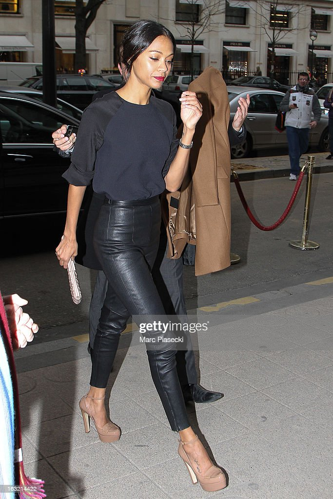 Actress <a gi-track='captionPersonalityLinkClicked' href=/galleries/search?phrase=Zoe+Saldana&family=editorial&specificpeople=542691 ng-click='$event.stopPropagation()'>Zoe Saldana</a> is sighted arriving at the 'Plaza Athenee' hotel on March 6, 2013 in Paris, France.