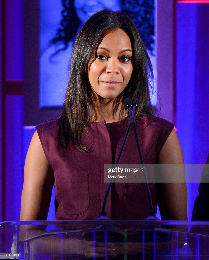 Actress <a gi-track='captionPersonalityLinkClicked' href=/galleries/search?phrase=Zoe+Saldana&family=editorial&specificpeople=542691 ng-click='$event.stopPropagation()'>Zoe Saldana</a> onstage at the Children's Defense Fund of California 22nd Annual Beat The Odds Awards at Beverly Hills Hotel on December 6, 2012 in Beverly Hills, California.