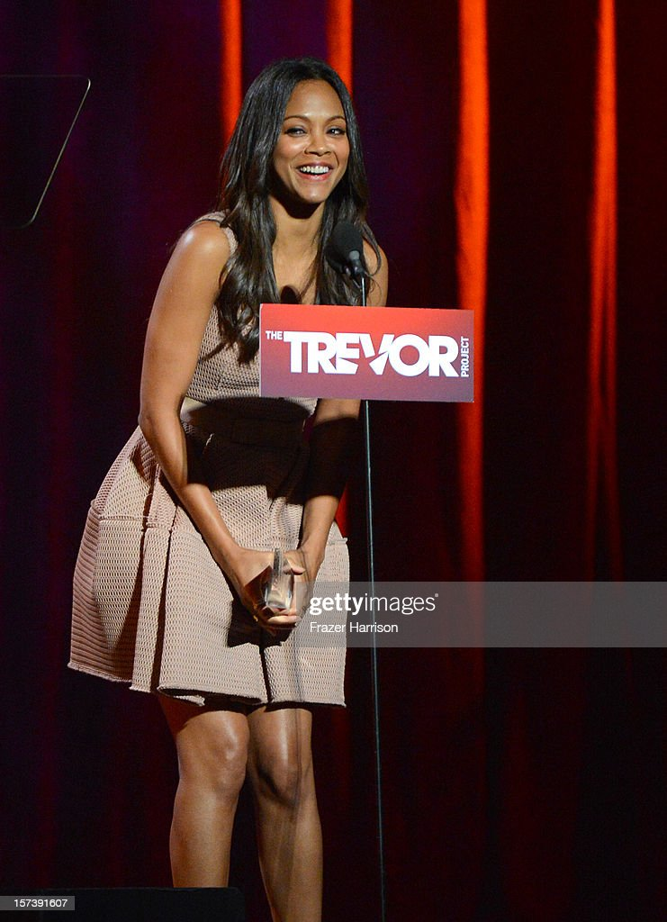 Actress <a gi-track='captionPersonalityLinkClicked' href=/galleries/search?phrase=Zoe+Saldana&family=editorial&specificpeople=542691 ng-click='$event.stopPropagation()'>Zoe Saldana</a> onstage at 'Trevor Live' honoring Katy Perry and Audi of America for The Trevor Project held at The Hollywood Palladium on December 2, 2012 in Los Angeles, California.