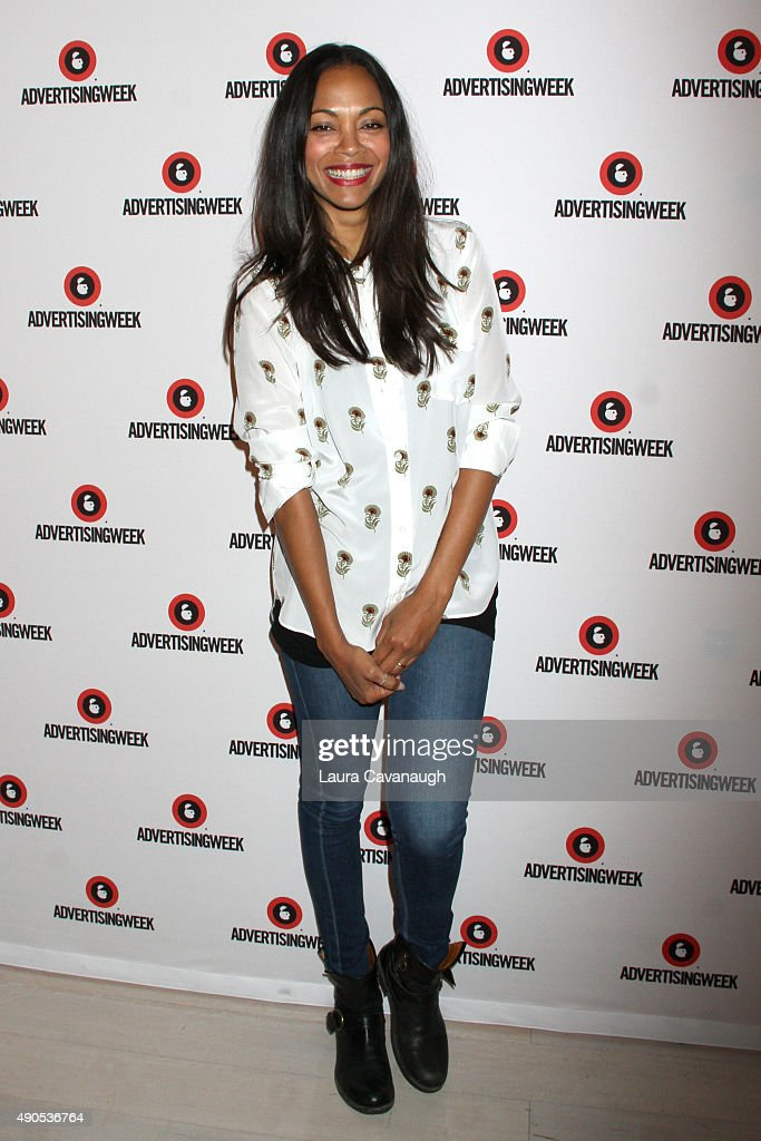 Actress <a gi-track='captionPersonalityLinkClicked' href=/galleries/search?phrase=Zoe+Saldana&family=editorial&specificpeople=542691 ng-click='$event.stopPropagation()'>Zoe Saldana</a> poses at the Reinventing Social Entertainment panel presented by AOL during Advertising Week 2015 AWXII at the Times Center Stage on September 29, 2015 in New York City.