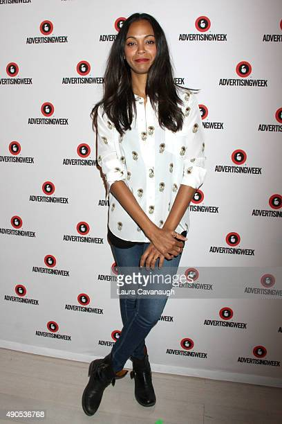 Actress Zoe Saldana poses at the Reinventing Social Entertainment panel presented by AOL during Advertising Week 2015 AWXII at the Times Center Stage...
