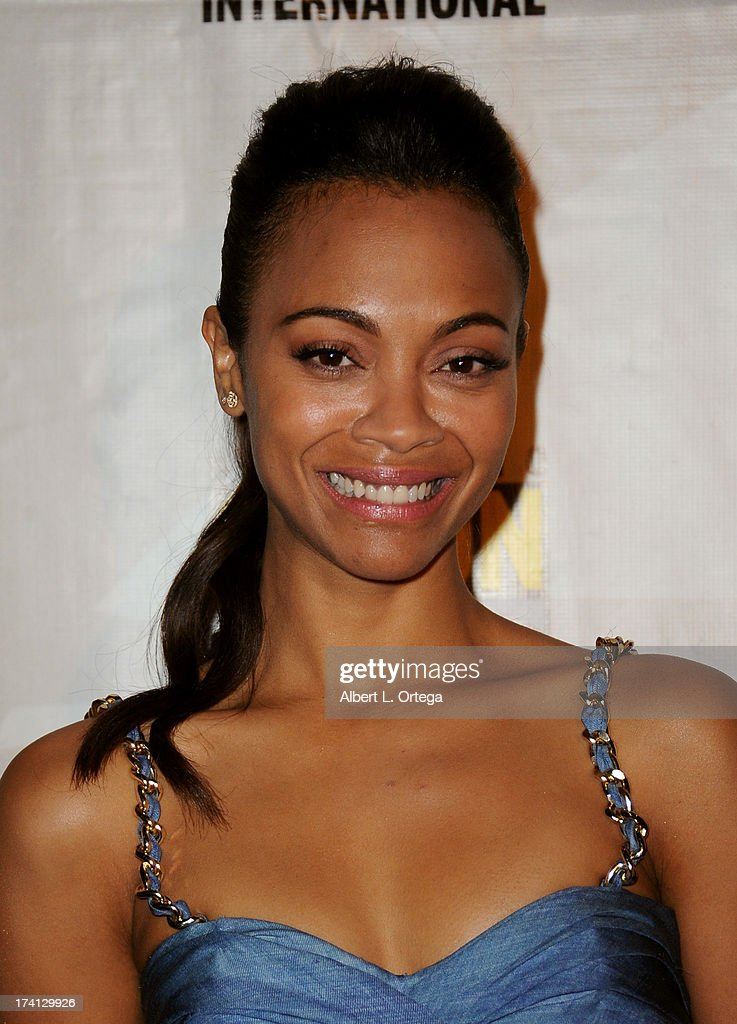 Actress <a gi-track='captionPersonalityLinkClicked' href=/galleries/search?phrase=Zoe+Saldana&family=editorial&specificpeople=542691 ng-click='$event.stopPropagation()'>Zoe Saldana</a> poses backstage at Marvel Studios 'The Guardians of the Galaxy' during Comic-Con International 2013 at San Diego Convention Center on July 20, 2013 in San Diego, California.