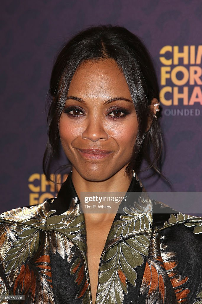 Actress <a gi-track='captionPersonalityLinkClicked' href=/galleries/search?phrase=Zoe+Saldana&family=editorial&specificpeople=542691 ng-click='$event.stopPropagation()'>Zoe Saldana</a> poses backstage in the media room at the 'Chime For Change: The Sound Of Change Live' Concert at Twickenham Stadium on June 1, 2013 in London, England. Chime For Change is a global campaign for girls' and women's empowerment founded by Gucci with a founding committee comprised of Gucci Creative Director Frida Giannini, Salma Hayek Pinault and Beyonce Knowles-Carter.