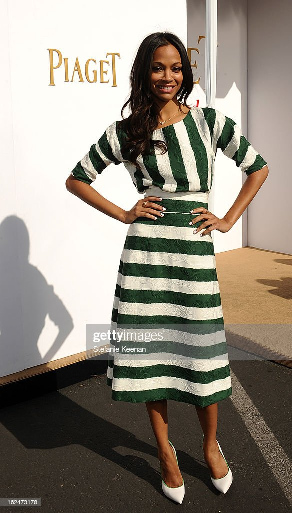 Actress Zoe Saldana poses in the Piaget Lounge during The 2013 Film Independent Spirit Awards on February 23, 2013 in Santa Monica, California.