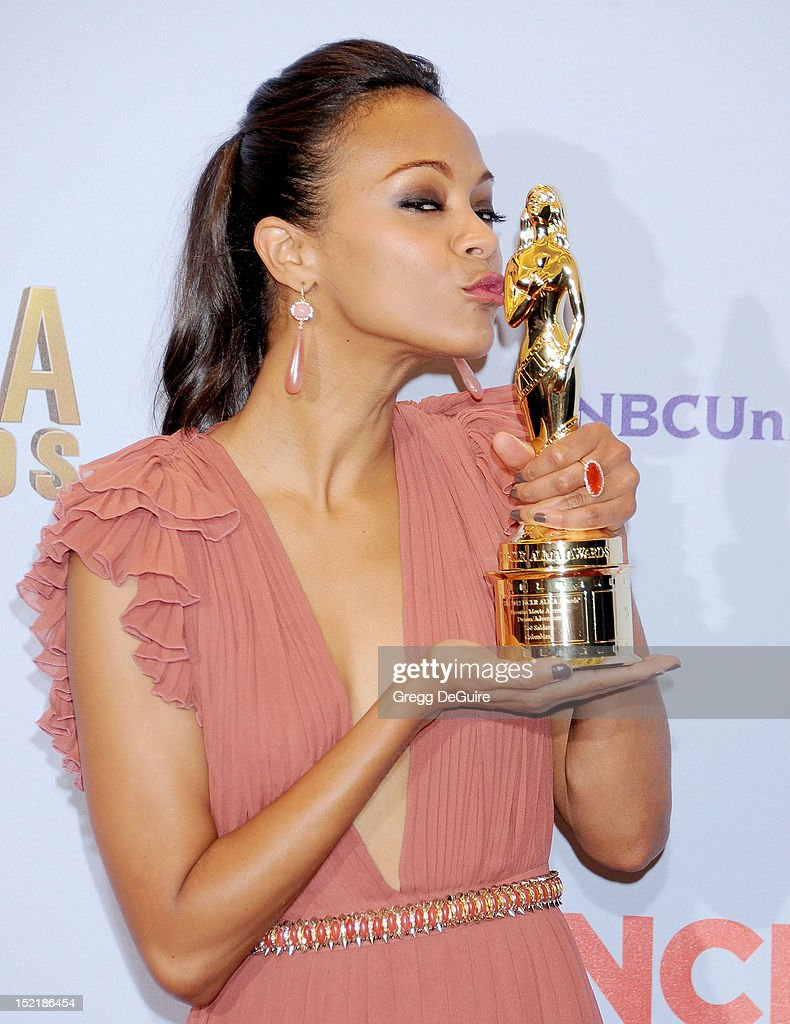 Actress <a gi-track='captionPersonalityLinkClicked' href=/galleries/search?phrase=Zoe+Saldana&family=editorial&specificpeople=542691 ng-click='$event.stopPropagation()'>Zoe Saldana</a> poses in the press room at the 2012 NCLR ALMA Awards at Pasadena Civic Auditorium on September 16, 2012 in Pasadena, California.
