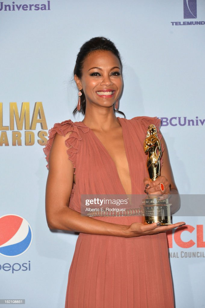 Actress <a gi-track='captionPersonalityLinkClicked' href=/galleries/search?phrase=Zoe+Saldana&family=editorial&specificpeople=542691 ng-click='$event.stopPropagation()'>Zoe Saldana</a> poses in the press room during the 2012 NCLR ALMA Awards at Pasadena Civic Auditorium on September 16, 2012 in Pasadena, California.