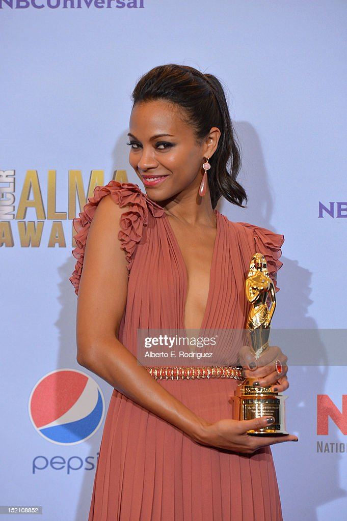 Actress Zoe Saldana poses in the press room during the 2012 NCLR ALMA Awards at Pasadena Civic Auditorium on September 16, 2012 in Pasadena, California.