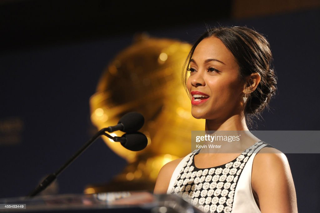 Actress <a gi-track='captionPersonalityLinkClicked' href=/galleries/search?phrase=Zoe+Saldana&family=editorial&specificpeople=542691 ng-click='$event.stopPropagation()'>Zoe Saldana</a> speaks at the 71st Golden Globe Awards Nominations Announcement at The Beverly Hilton Hotel on December 12, 2013 in Beverly Hills, California.