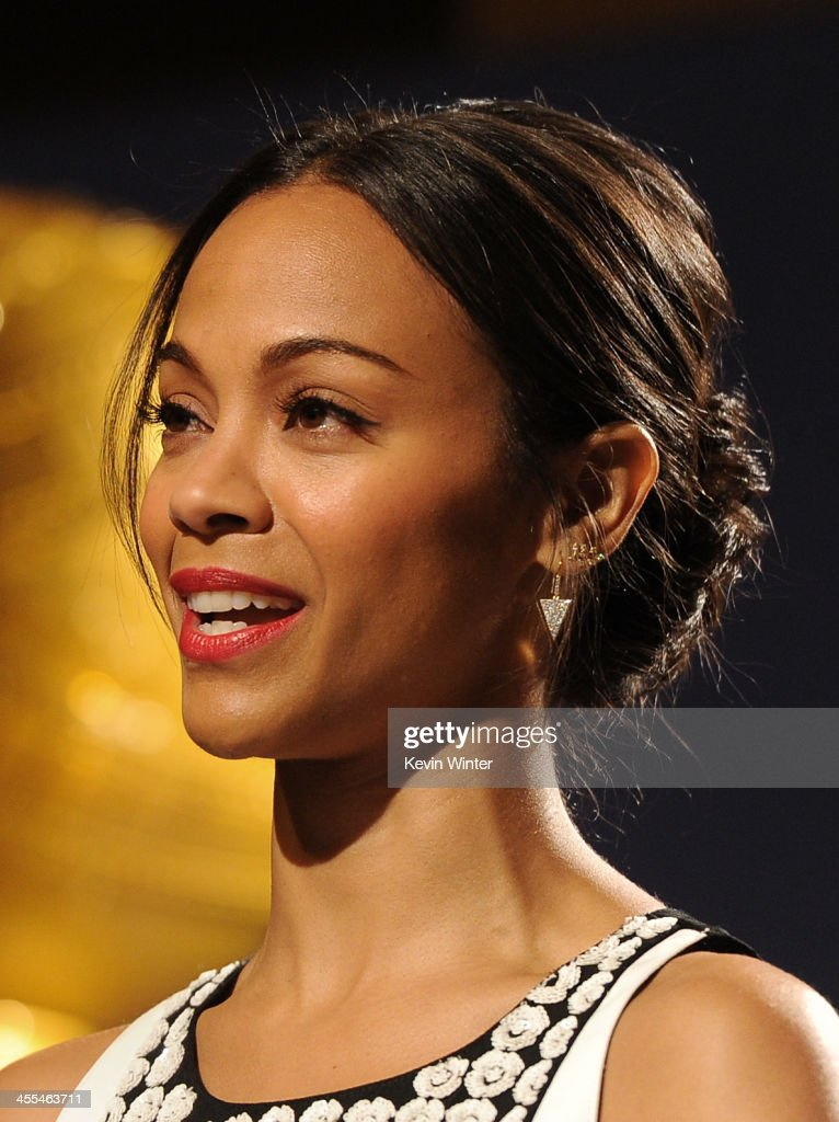 Actress Zoe Saldana speaks at the 71st Golden Globe Awards Nominations Announcement at The Beverly Hilton Hotel on December 12, 2013 in Beverly Hills, California.
