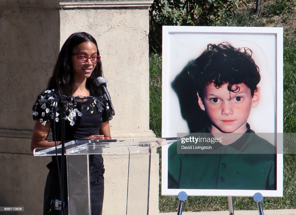 Actress Zoe Saldana speaks at the Anton Yelchin life celebration and statue unveiling ceremony at Hollywood Forever on October 8, 2017 in Hollywood, Californis.