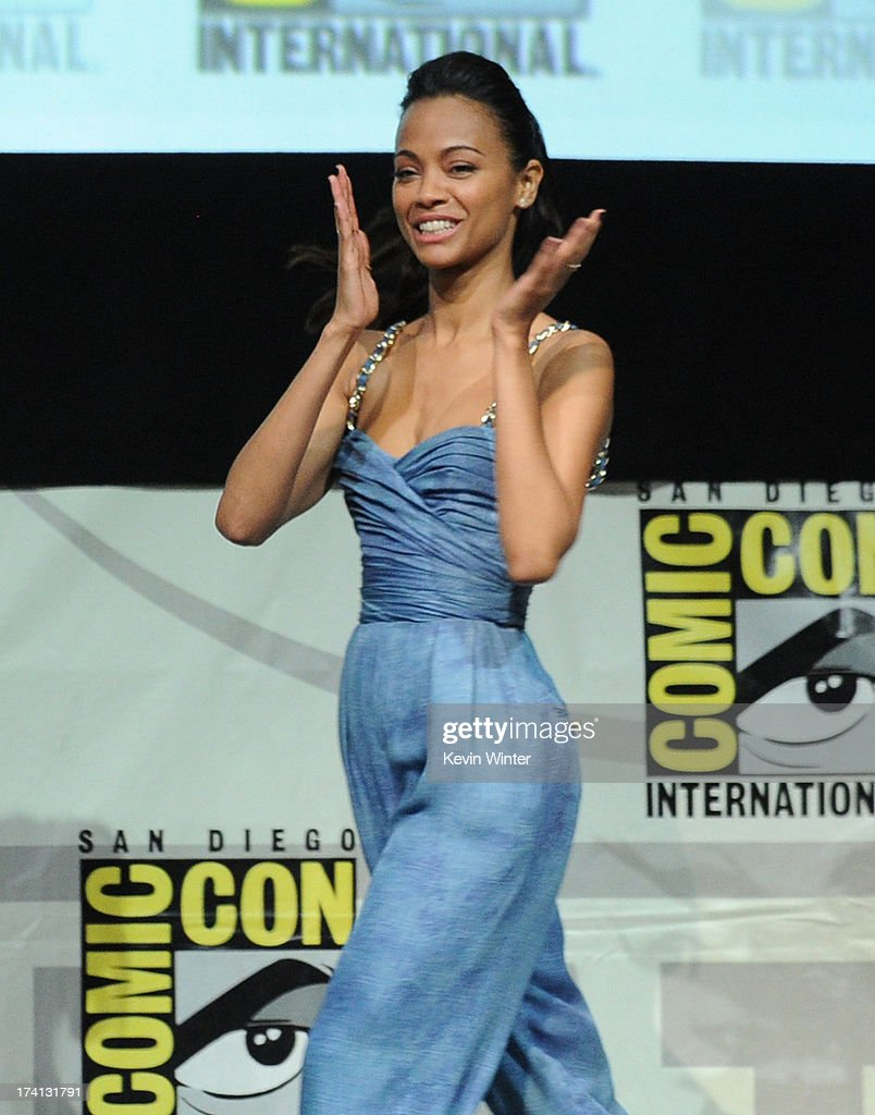 Actress <a gi-track='captionPersonalityLinkClicked' href=/galleries/search?phrase=Zoe+Saldana&family=editorial&specificpeople=542691 ng-click='$event.stopPropagation()'>Zoe Saldana</a> speaks onstage at Marvel Studios 'Guardians of the Galaxy' during Comic-Con International 2013 at San Diego Convention Center on July 20, 2013 in San Diego, California.