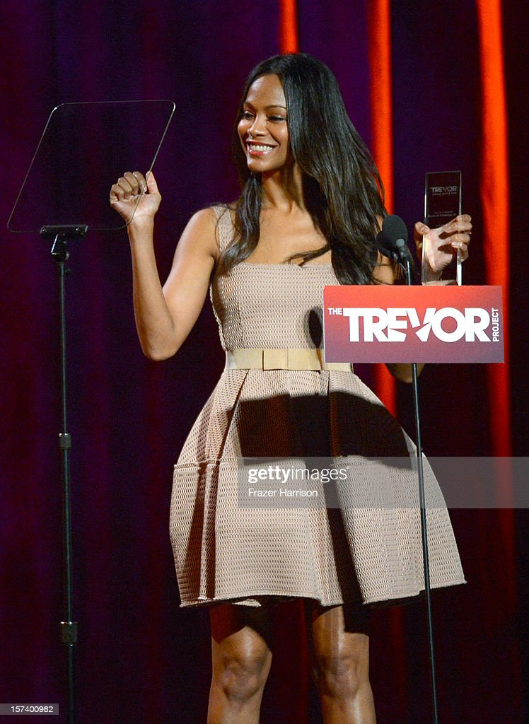 Actress Zoe Saldana speaks onstage at 'Trevor Live' honoring Katy Perry and Audi of America for The Trevor Project held at The Hollywood Palladium on December 2, 2012 in Los Angeles, California.