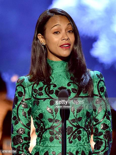 Actress Zoe Saldana speaks onstage during Spike TV's Guys Choice 2015 at Sony Pictures Studios on June 6 2015 in Culver City California
