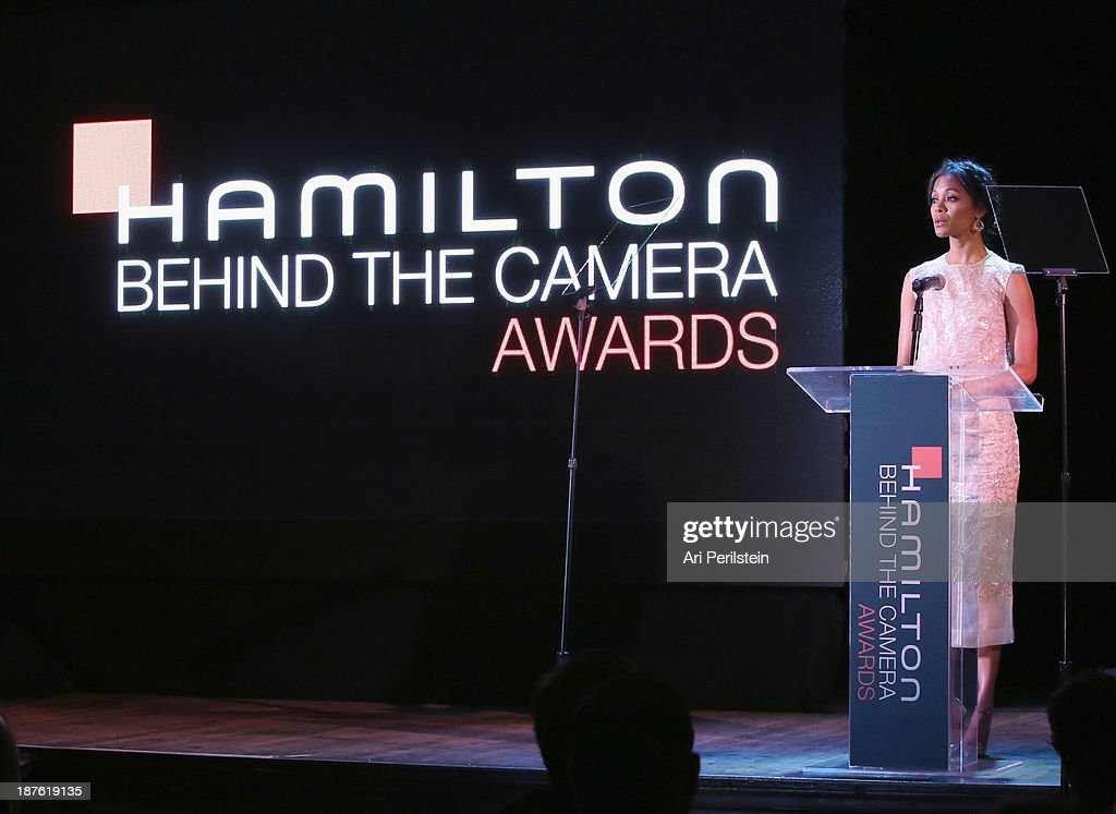 Actress <a gi-track='captionPersonalityLinkClicked' href=/galleries/search?phrase=Zoe+Saldana&family=editorial&specificpeople=542691 ng-click='$event.stopPropagation()'>Zoe Saldana</a> speaks onstage during the Hamilton and Los Angeles Confidential Magazine's announcement of the 7th Annual Hamilton Behind The Camera Awards at The Wilshire Ebell Theatre on November 10, 2013 in Los Angeles, California.