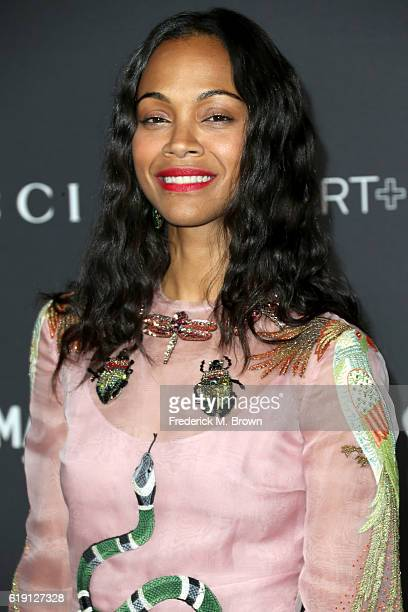 Actress Zoe Saldana wearing Gucci attends the 2016 LACMA Art Film Gala honoring Robert Irwin and Kathryn Bigelow presented by Gucci at LACMA on...