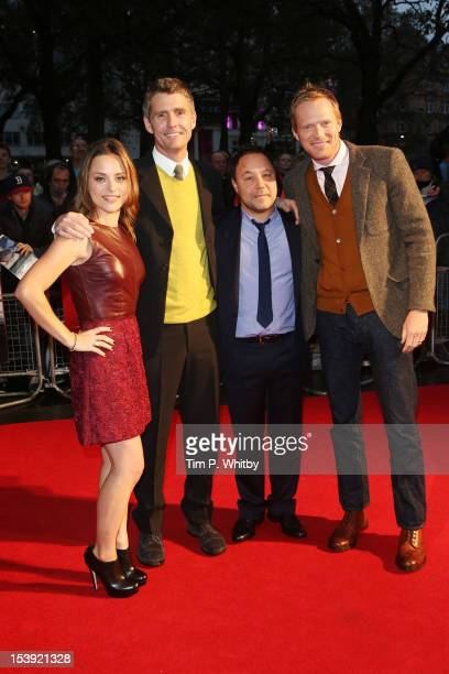 Actress Zoe Tapper director Nick Murphy actors Stephen Graham and Paul Bettany attend the premiere of 'Blood' during the 56th BFI London Film...