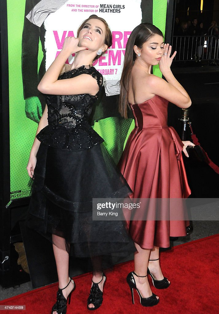 Actress <a gi-track='captionPersonalityLinkClicked' href=/galleries/search?phrase=Zoey+Deutch&family=editorial&specificpeople=4951672 ng-click='$event.stopPropagation()'>Zoey Deutch</a> (L) and actress <a gi-track='captionPersonalityLinkClicked' href=/galleries/search?phrase=Sarah+Hyland&family=editorial&specificpeople=3989646 ng-click='$event.stopPropagation()'>Sarah Hyland</a> attend the premiere of 'Vampire Academy' on February 4, 2014 at Regal Cinemas L.A. Live in Los Angeles, California.