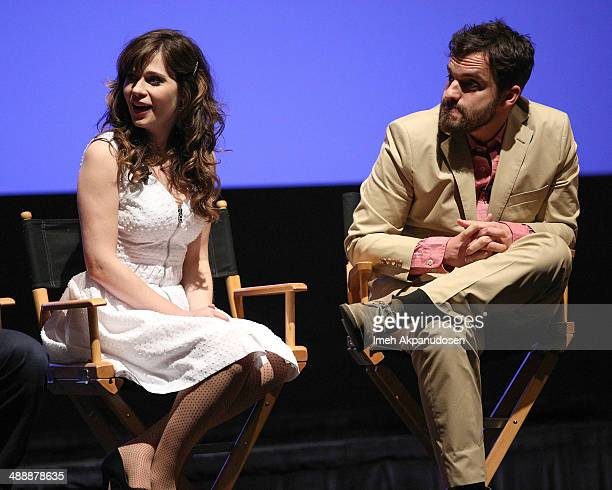 Actress Zooey Deschanel and actor Jake Johnson speak onstage at the 'New Girl' Season 3 Finale Screening and cast QA at Zanuck Theater at 20th...