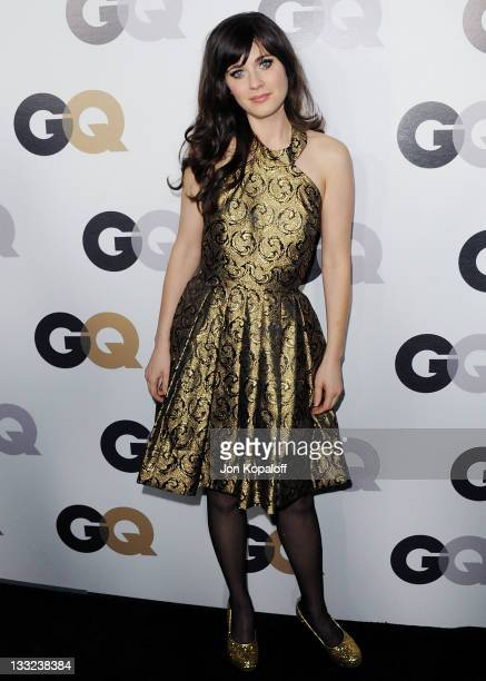 Actress Zooey Deschanel arrives at the 16th Annual GQ 'Men Of The Year' Celebration at Chateau Marmont on November 17 2011 in Los Angeles California
