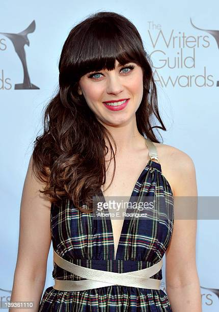 Actress Zooey Deschanel arrives at the 2012 Writers Guild Awards at the Hollywood Palladium on February 19 2012 in Los Angeles California