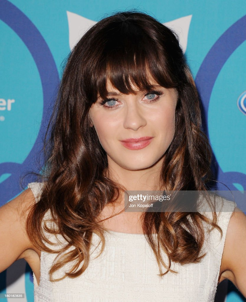 Actress <a gi-track='captionPersonalityLinkClicked' href=/galleries/search?phrase=Zooey+Deschanel&family=editorial&specificpeople=202927 ng-click='$event.stopPropagation()'>Zooey Deschanel</a> arrives at the 2013 Fox Fall Eco-Casino Party at The Bungalow on September 9, 2013 in Santa Monica, California.