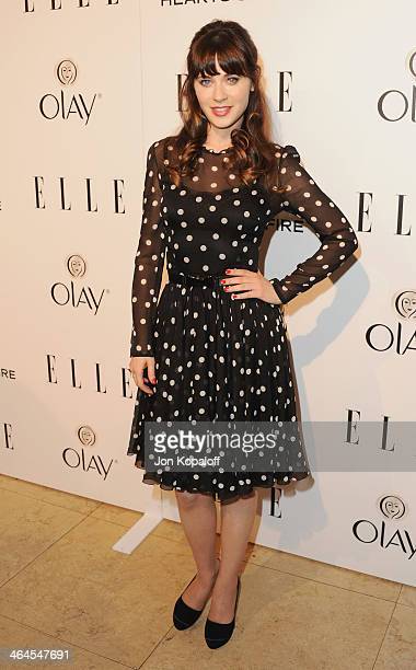 Actress Zooey Deschanel arrives at the ELLE Women In Television Celebration at Sunset Tower on January 22 2014 in West Hollywood California