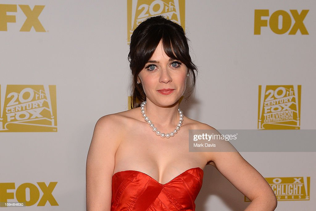 Actress Zooey Deschanel arrives at the FOX After Party for the 70th Annual Golden Globe Awards held at The FOX Pavillion at The Beverly Hilton Hotel on January 13, 2013 in Beverly Hills, California.