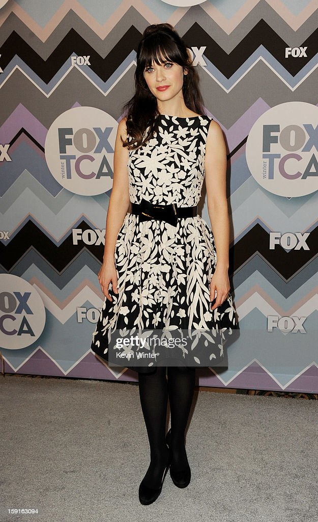 Actress <a gi-track='captionPersonalityLinkClicked' href=/galleries/search?phrase=Zooey+Deschanel&family=editorial&specificpeople=202927 ng-click='$event.stopPropagation()'>Zooey Deschanel</a> arrives at the FOX All-Star Party at the Langham Huntington Hotel on January 8, 2013 in Pasadena, California.