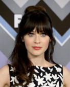 Actress Zooey Deschanel arrives at the FOX AllStar Party at the Langham Huntington Hotel on January 8 2013 in Pasadena California