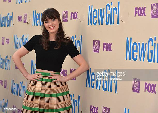 Actress Zooey Deschanel arrives to a screening and QA for Fox's 'New Girl' at Leonard H Goldenson Theatre on April 30 2013 in North Hollywood...