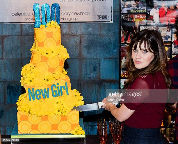 Actress Zooey Deschanel attends FOX's 'New Girl' 100th Episode Cake Cutting' held at Fox Studio Lot on December 2 2015 in Century City California