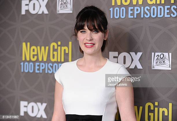 Actress Zooey Deschanel attends Fox's 'New Girl' 100th episode party at W Los Angeles West Beverly Hills on March 2 2016 in Los Angeles California