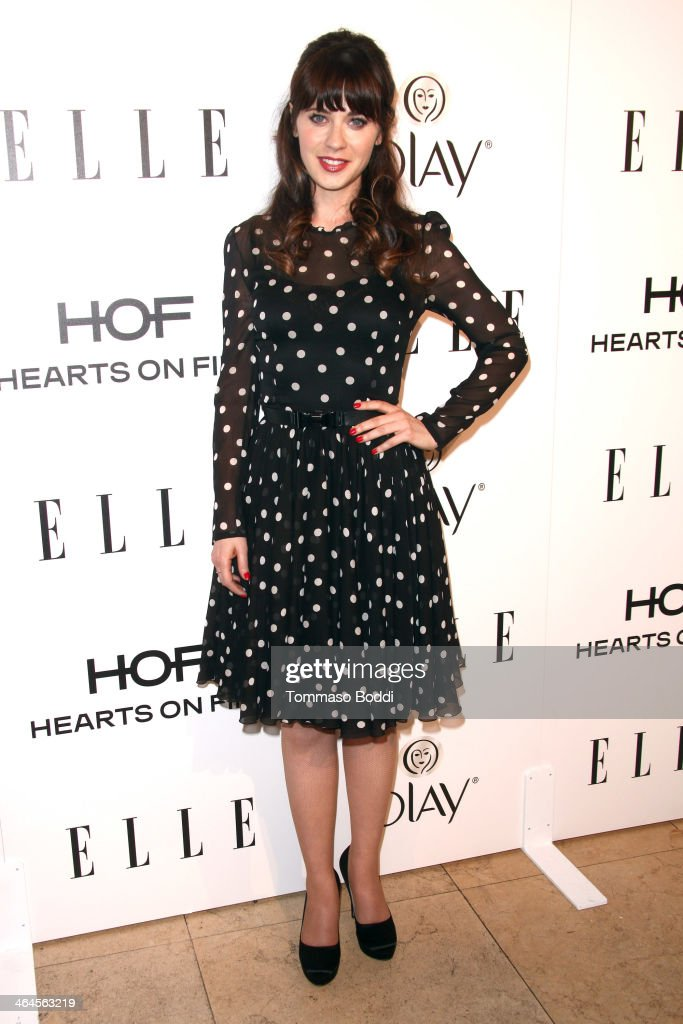 Actress <a gi-track='captionPersonalityLinkClicked' href=/galleries/search?phrase=Zooey+Deschanel&family=editorial&specificpeople=202927 ng-click='$event.stopPropagation()'>Zooey Deschanel</a> attends the ELLE Women In Television Celebration held at the Sunset Tower on January 22, 2014 in West Hollywood, California.