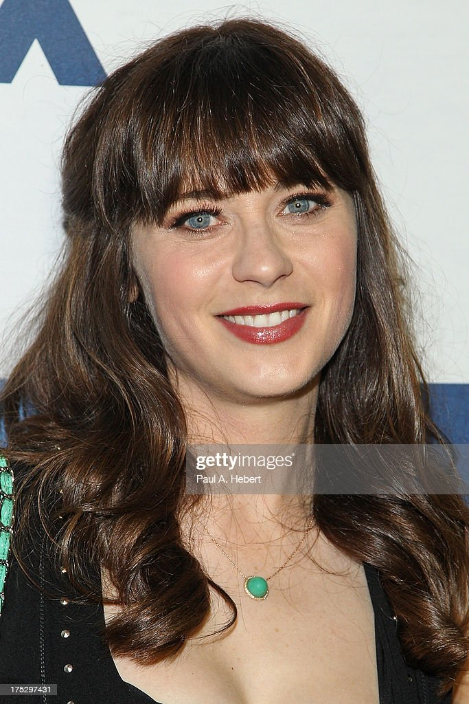 Actress <a gi-track='captionPersonalityLinkClicked' href=/galleries/search?phrase=Zooey+Deschanel&family=editorial&specificpeople=202927 ng-click='$event.stopPropagation()'>Zooey Deschanel</a> attends the Fox All-Star Party on August 1, 2013 in West Hollywood, California.