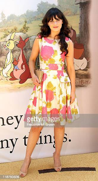 Actress Zooey Deschanel attends the Los Angeles Premiere of 'Winnie The Pooh' at Walt Disney Studios on July 10 2011 in Burbank California
