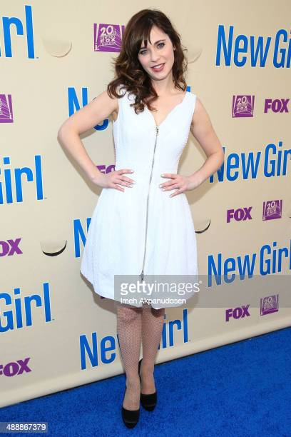 Actress Zooey Deschanel attends the 'New Girl' Season 3 Finale Screening and cast QA at Zanuck Theater at 20th Century Fox Lot on May 8 2014 in Los...