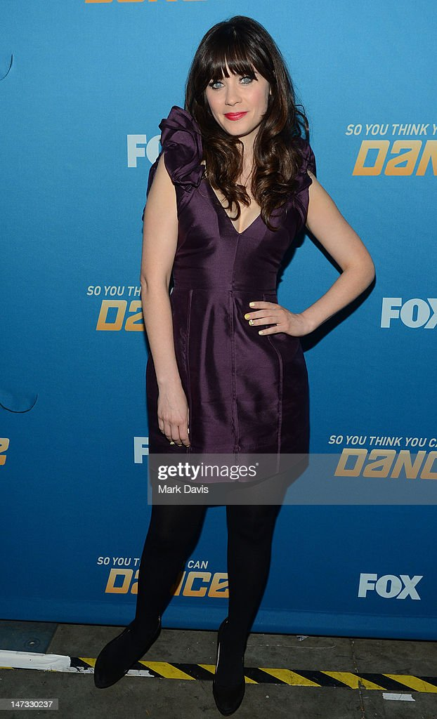 Actress <a gi-track='captionPersonalityLinkClicked' href=/galleries/search?phrase=Zooey+Deschanel&family=editorial&specificpeople=202927 ng-click='$event.stopPropagation()'>Zooey Deschanel</a> poses at the Fox Celebrates The 200th Episode Of 'So You Think You Can Dance'CBS Television City on June 25, 2012 in Los Angeles, California.