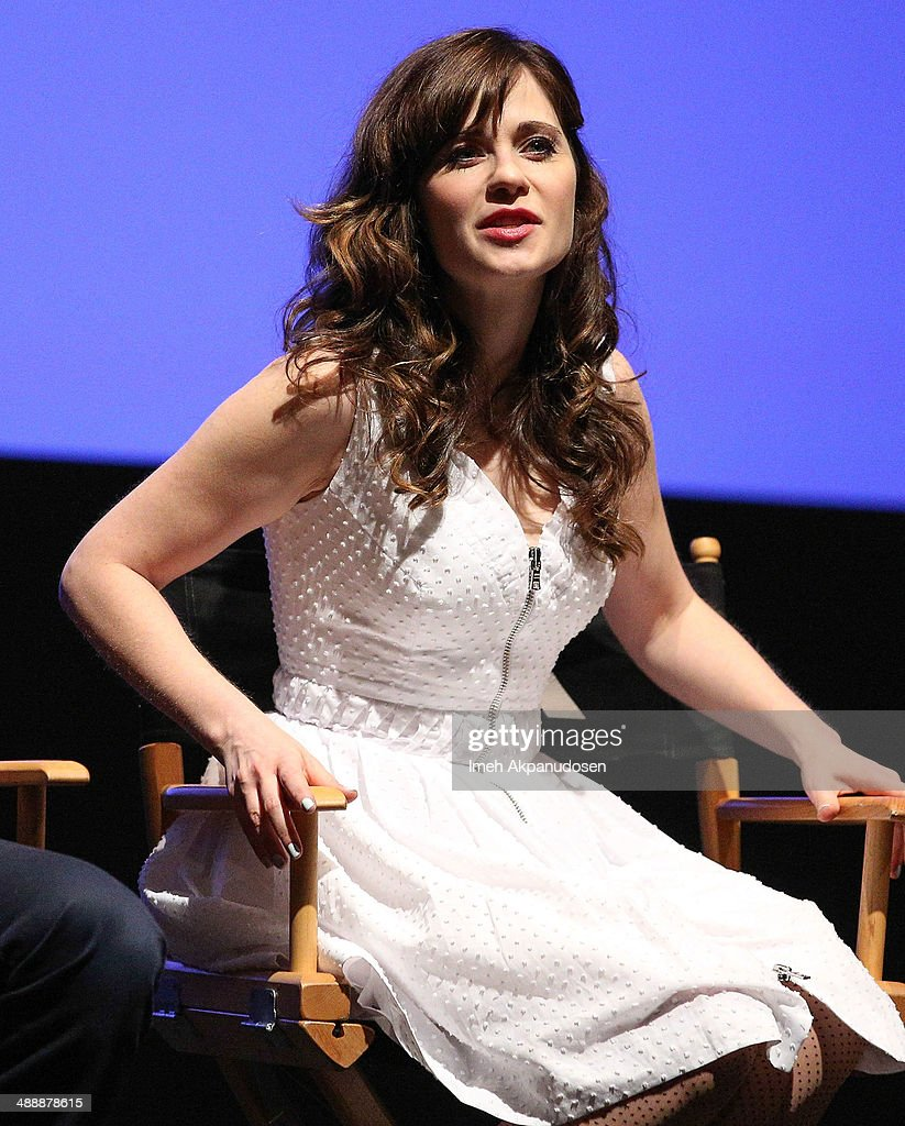 Actress Zooey Deschanel speaks onstage at the 'New Girl' Season 3 Finale Screening and cast Q&A at Zanuck Theater at 20th Century Fox Lot on May 8, 2014 in Los Angeles, California.