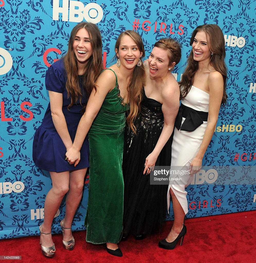 Actress Zosia Mamet actress Jemima Kirke actress/creator/executive producer Lena Dunham and actress Allison Williams attend the HBO with The Cinema...