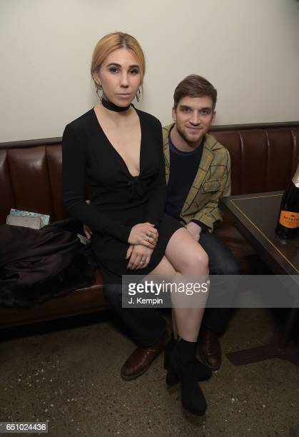 Actress Zosia Mamet and actor Evan Jonigkeit attend the afterparty for the 'Personal Shopper' New York Premiere at Metrograph on March 9 2017 in New...