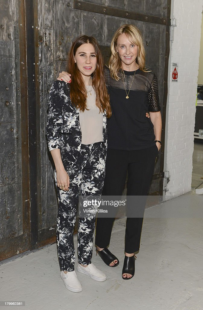 Actress <a gi-track='captionPersonalityLinkClicked' href=/galleries/search?phrase=Zosia+Mamet&family=editorial&specificpeople=7439328 ng-click='$event.stopPropagation()'>Zosia Mamet</a> and fashion designer Rebecca Taylor pose backstage at the Rebecca Taylor fashion show during Mercedes-Benz Fashion Week Spring 2014 at Center 548 on September 7, 2013 in New York City.
