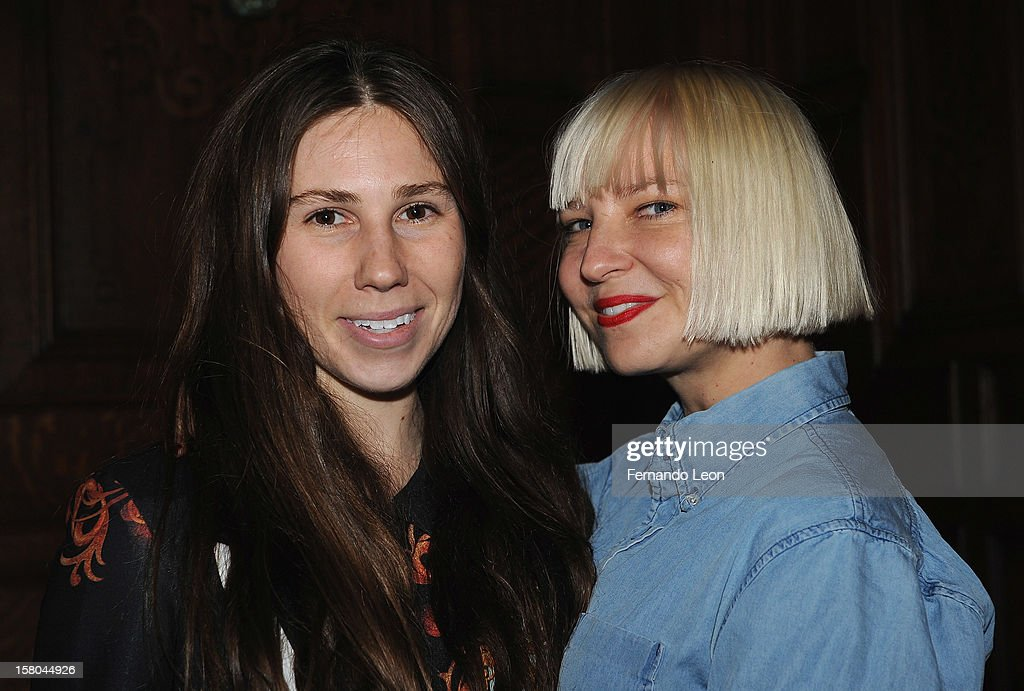 Actress Zosia Mamet and musician Sia Furler (R) attend The Cinema Society With Chrysler & Bally Host The Premiere Of 'Stand Up Guys' After Party at The Plaza Hotel on December 9, 2012 in New York City.