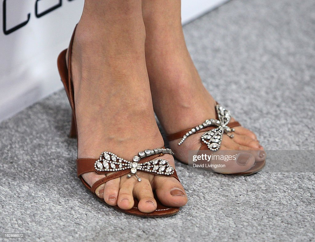 Actress Zuleikha Robinson (shoe detail) attends the Harper's BAZAAR celebration of Cameron Silver and Christos Garkinos of Decades new Bravo series 'Dukes of Melrose' at The Terrace at Sunset Tower on February 28, 2013 in West Hollywood, California.