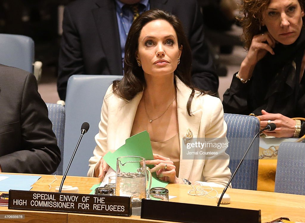 Actress/activist Angelina Jolie attends a United Nations Security Council Meeting on the situation in the Middle East And Syria at United Nations on...